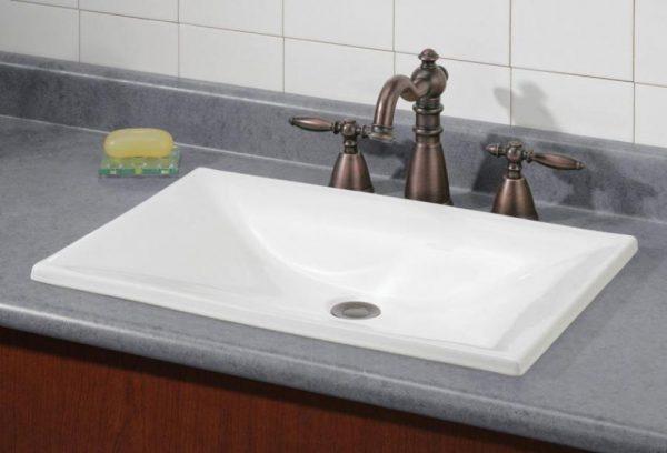 Cheviot Estoril Bathroom Drop In Sink 22x15 White