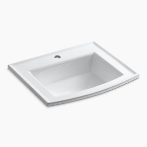 "Archer Drop-In Single Hole Bathroom Sink L 22-5/8"", H 7-7/8"", W 19-7/16"""