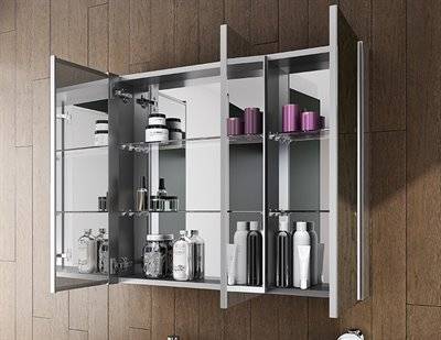 Fleurco Tri Panel Medicine Cabinet Mirrored Interior