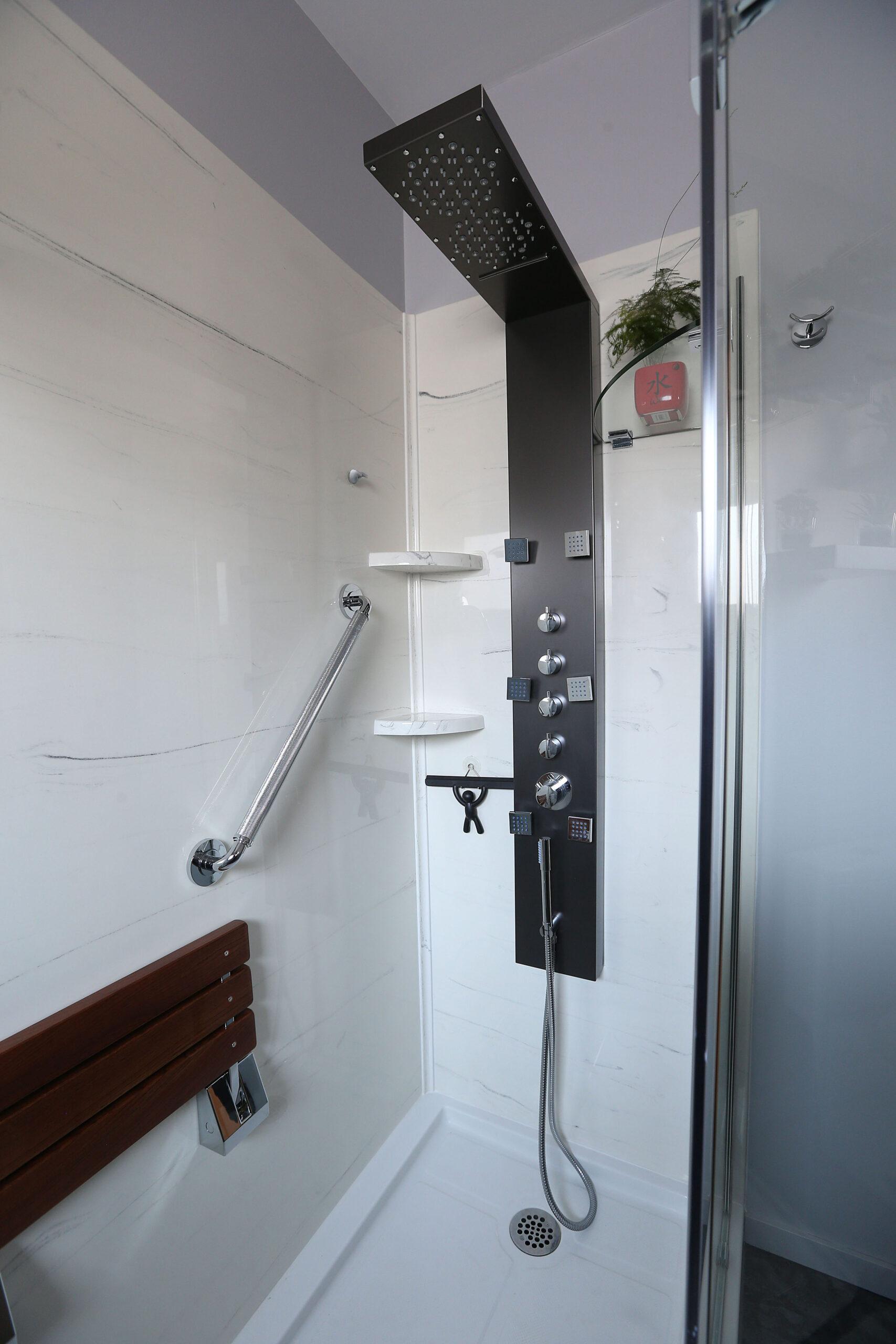 cultured marblesprayed granite custom shower walls